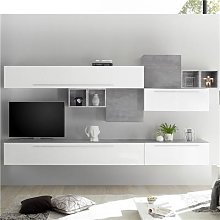 Ensemble meuble TV mural blanc et gris clair VASTO
