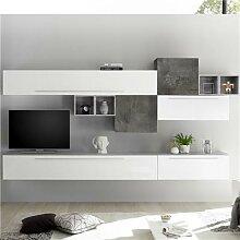 Ensemble meuble TV mural blanc et gris foncé VASTO