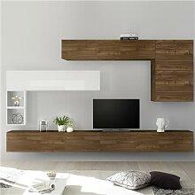 Ensemble meuble TV mural couleur bois et blanc