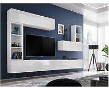 Ensemble meuble tv mural cube 1. Coloris blanc et