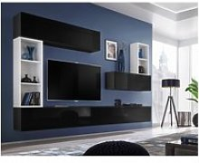 Ensemble meuble tv mural cube 1. Coloris noir et
