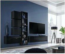 Ensemble meuble tv mural cube 11 design coloris