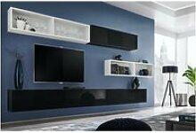 Ensemble meuble tv mural cube 14 design coloris