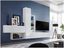 Ensemble meuble tv mural cube 4. Coloris blanc et