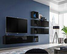Ensemble meuble TV mural CUBE 7 design coloris
