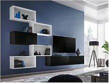 Ensemble meuble tv mural cube 8 design coloris