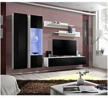 Ensemble meuble tv mural fly-a noir et blanc avec