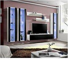 Ensemble meuble tv mural fly-c noir et blanc avec