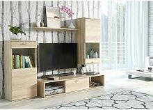 Ensemble meuble TV mural LEA design couleur chêne