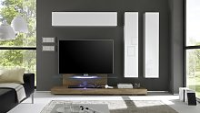 Ensemble meuble TV mural lumineux avec rangements