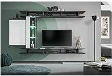 Ensemble meuble tv mural tony design couleur gris