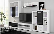 ENSEMBLE MEUBLE TV MURAL VIKI NOIR ET BLANC