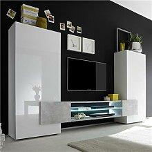 Ensemble meubles TV blanc laqué brillant et