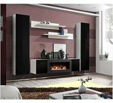 Ensemble mural - fly m - 1 meuble tv - 2 vitrines