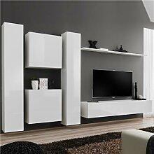 Ensemble mural TV blanc GINOSA 3