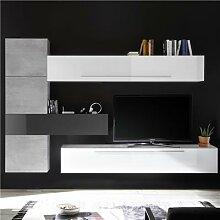 Ensemble mural TV design blanc et gris POTENZA