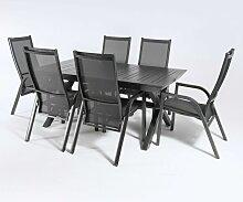 Ensemble pour terrasse, table extensible 170cm à
