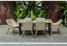 Ensemble repas 6 personnes - table 180x90cm bois