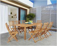 Ensemble repas de jardin 8 personnes - Table 180 x