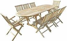 Ensemble salon de jardin en teck MAHUI 6 chaises 2