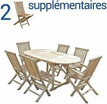 Ensemble salon de jardin en teck SOLO 4+2 chaises