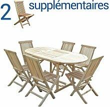 Ensemble salon de jardin en teck SOLO 6 chaises +