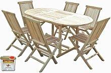 Ensemble salon de jardin en teck SOLO 6 chaises -
