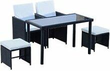 Ensemble salon de jardin encastrable 2 fauteuils