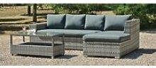 Ensemble salon sofa cuber coussins gris fonce sara