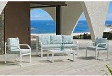 Ensemble salon sofa de jardin amza 8 en aluminium
