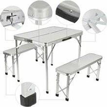 Ensemble Table + 2pcs Banc de Jardin en Aluminium