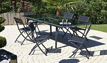 Ensemble table à rallonge et 6 chaises noir -