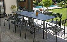 Ensemble table avec rallonge et 10 fauteuils -