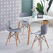 Ensemble Table Blanche + 4 Chaises Grises - Style