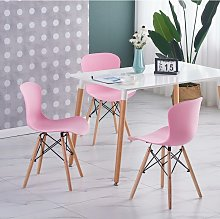 Ensemble Table Blanche + 4 Chaises Roses - Style