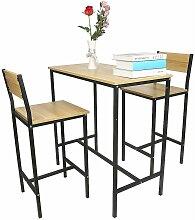 Ensemble table de bar + 2 chaises, Set de 1 Table