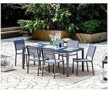 Ensemble table de jardin 180 cm + 6 chaises