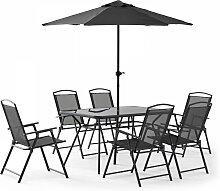 Ensemble table de jardin 6 places avec parasol gris
