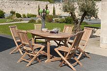 Ensemble table de jardin et  6 chaises en teck