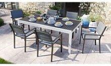 Ensemble table de jardin extensible 8 à 12
