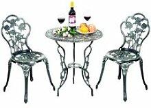 Ensemble table et 2 chaises de bistrot en fonte