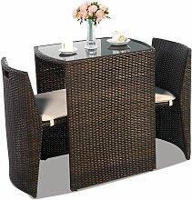 Ensemble Table et Chaise de Jardin en Rotin et