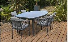 Ensemble table extensible et 6 fauteuils de jardin