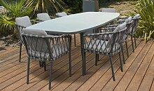 Ensemble table extensible et 8 fauteuils de jardin