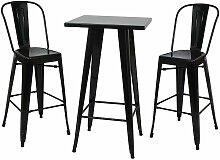 Ensemble table haute avec 2 tabourets de bar en