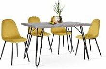 Ensemble table industriel l120cm et 4 chaises de