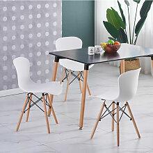 Ensemble Table Noire + 4 Chaises Blanches - Style
