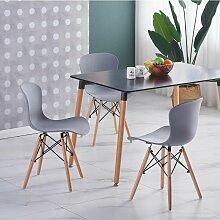 Ensemble Table Noire + 4 Chaises Grises - Style