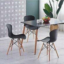 Ensemble Table Noire + 4 Chaises Noires - Style