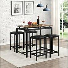 Ensemble table rectangulaire et 4 tabourets, style